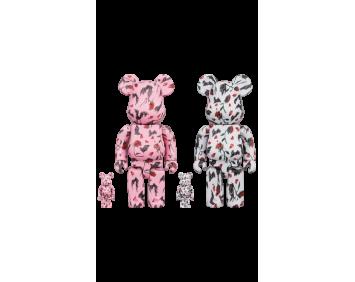 BEARBRICK - KIDILL × ERI WAKIYAMA BAT & ROSE 100% & 400% Pink/White